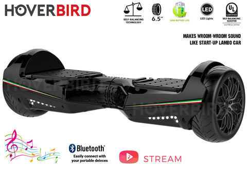 "HOVERBIRD Heavy Duty SE11 UL2272 Certified 500W - 6.5"" Tires - BLUETOOTH - Lambo Start Sound - Black"