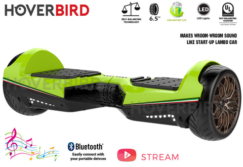 "HOVERBIRD Heavy Duty ES11 UL2272 Certified 500W - 6.5"" Tires - BLUETOOTH - Lambo Start Sound - Green"