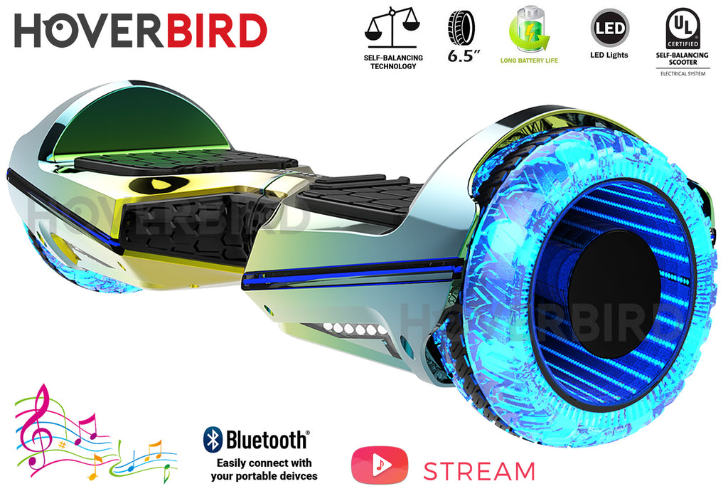 "HOVERBIRD Heavy Duty ES11 UL2272 Certified 500W - 6.5"" Tires - BLUETOOTH - LED WHEELS - Chrome Iris"
