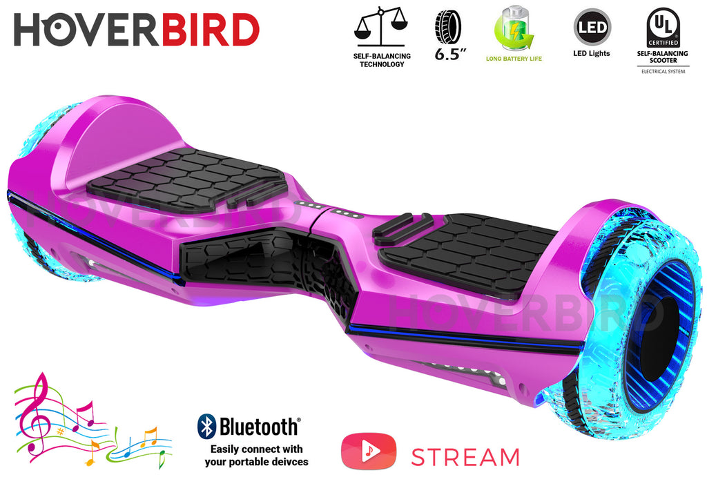 "HOVERBIRD Heavy Duty ES11 UL2272 Certified 500W - 6.5"" Tires - BLUETOOTH- LED WHEELS - Chrome Pink"