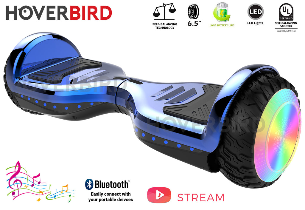 "HOVERBIRD Heavy Duty ES12 PRO UL2272 Certified 400W - 6.5"" Tires - BLUETOOTH - LED WHEELS - Blue Chrome"