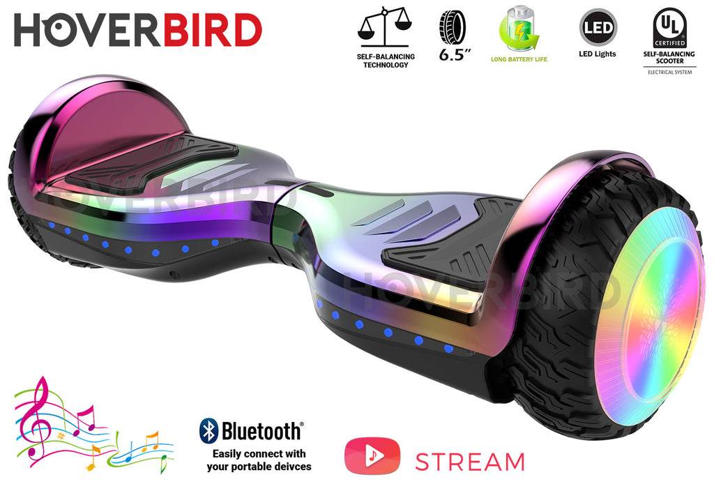 "HOVERBIRD Heavy Duty ES12 PRO UL2272 Certified 400W - 6.5"" Tires - BLUETOOTH - LED WHEELS - Rainbow Chrome"
