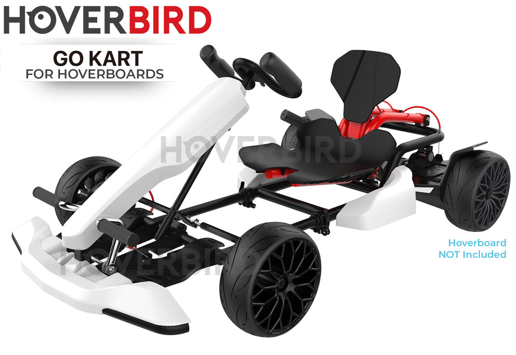 Hoverboard Attachment GoKart Hoverkart Kit for All Compatible Hoverboards - White