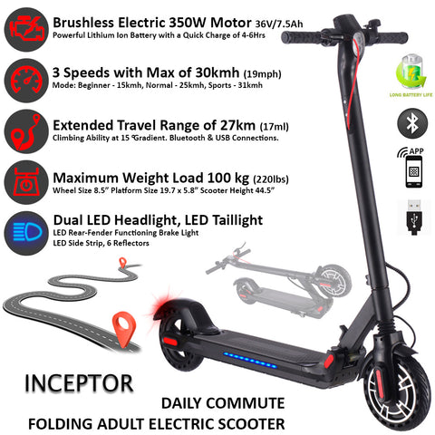 INCEPTOR Electric City Scooter 350Watt/36V/7.5Ah