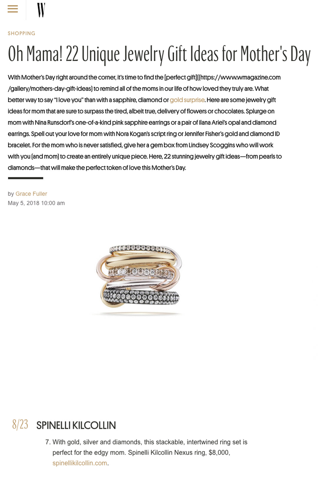 w magazine spinelli kilcollin linked ring nexus luxury jewelry
