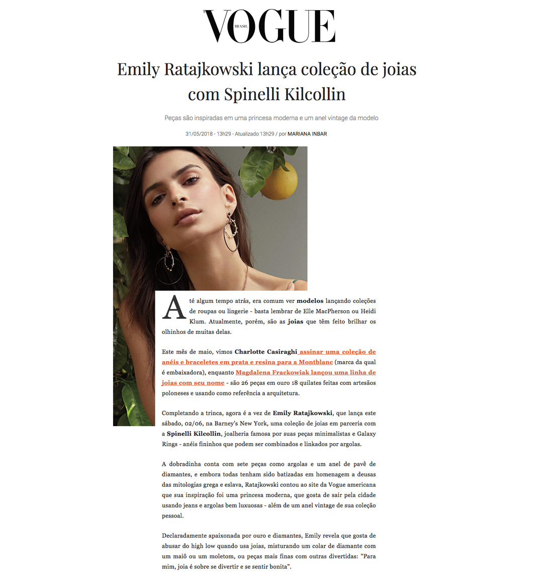 vogue globo brasil brazil spinelli kilcollin emrata emily ratajkowski collaboration luxury jewelry design linked-ring pendant necklace ring