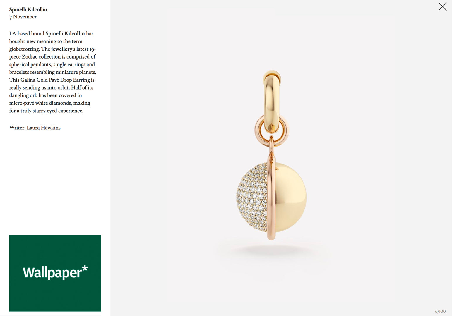 spinelli kilcollin wallpaper magazine zodiac collection galina gold pave drop earring luxury-jewelry