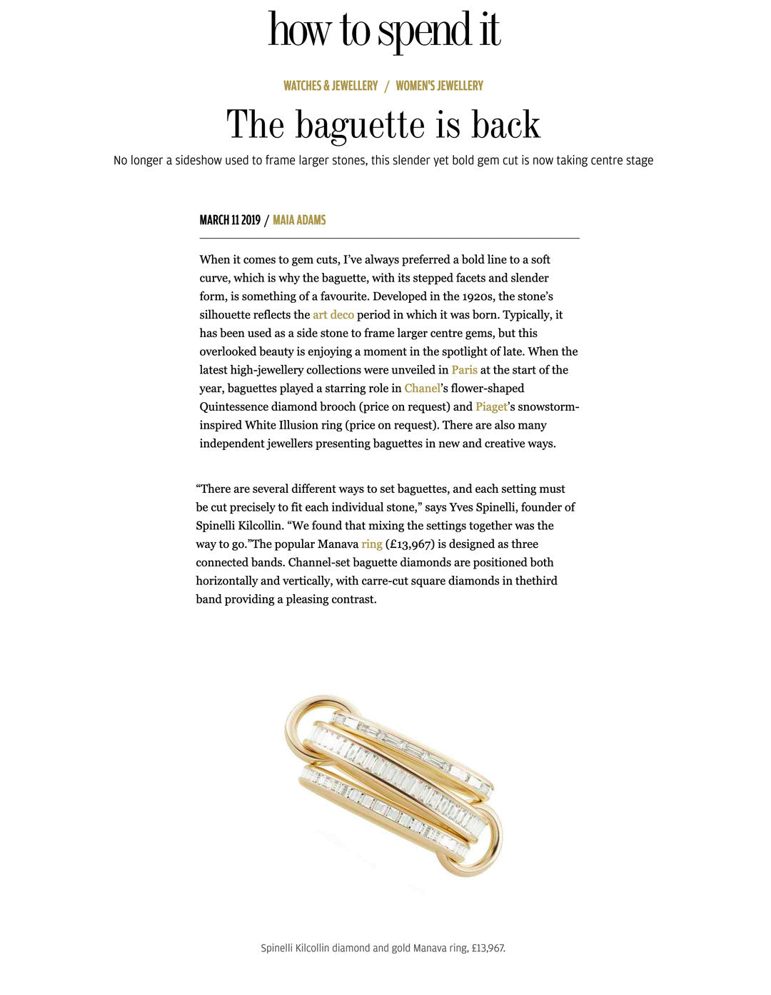 financial times ft how to spend it spinelli kilcollin manava ring linked-ring luxury-jewelry baguette-diamond