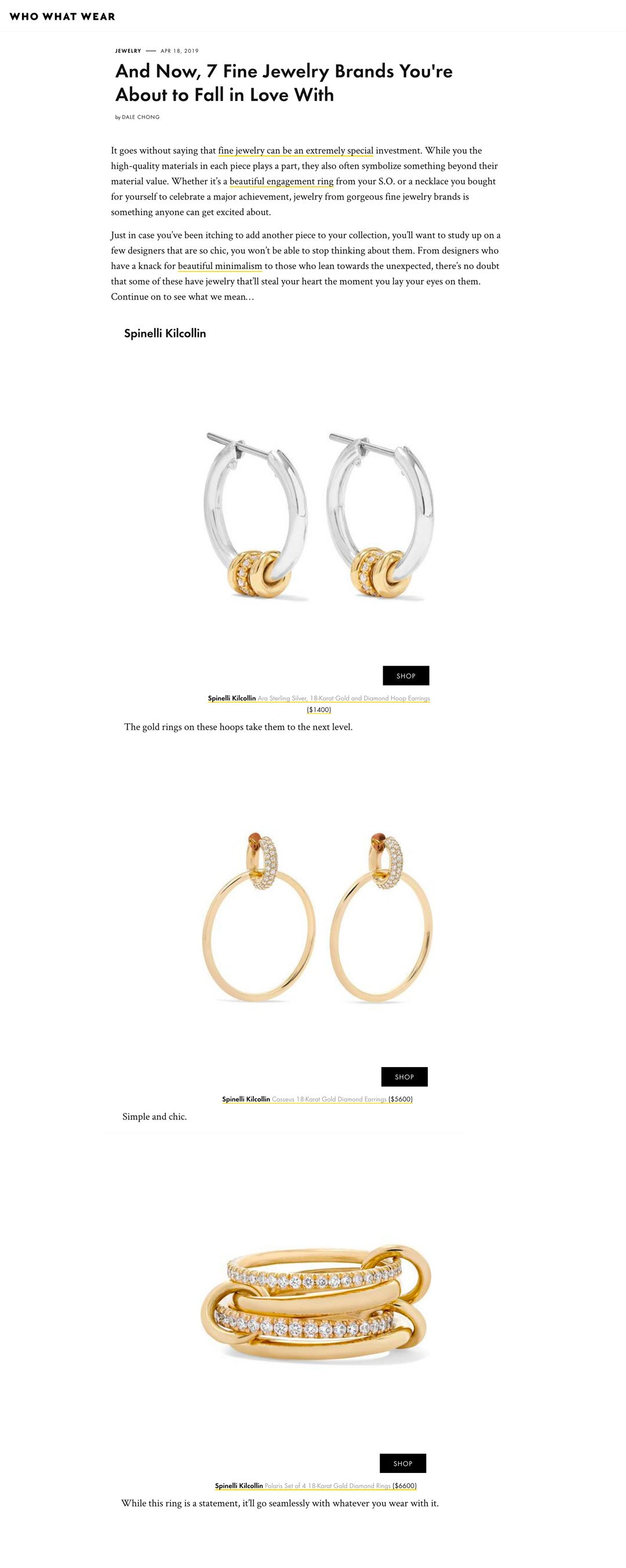 who what wear spinelli kilcollin ara sg earrings luxury-jewelry linked-jewelry casseus polaris ring
