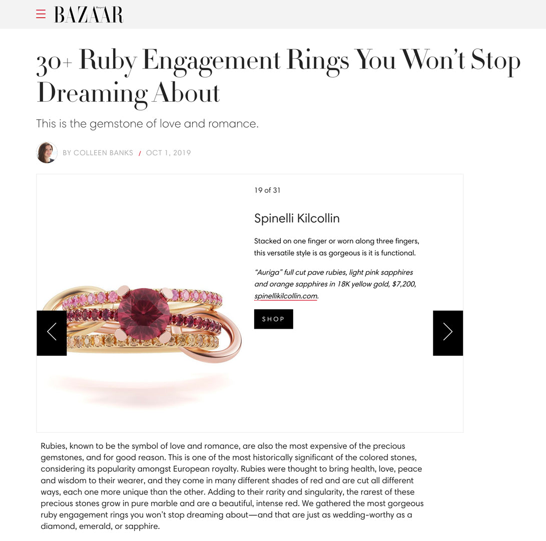 harpers bazaar spinelli kilcollin auriga ring ruby-ring ruby-gold luxury-jewelry linked-ring