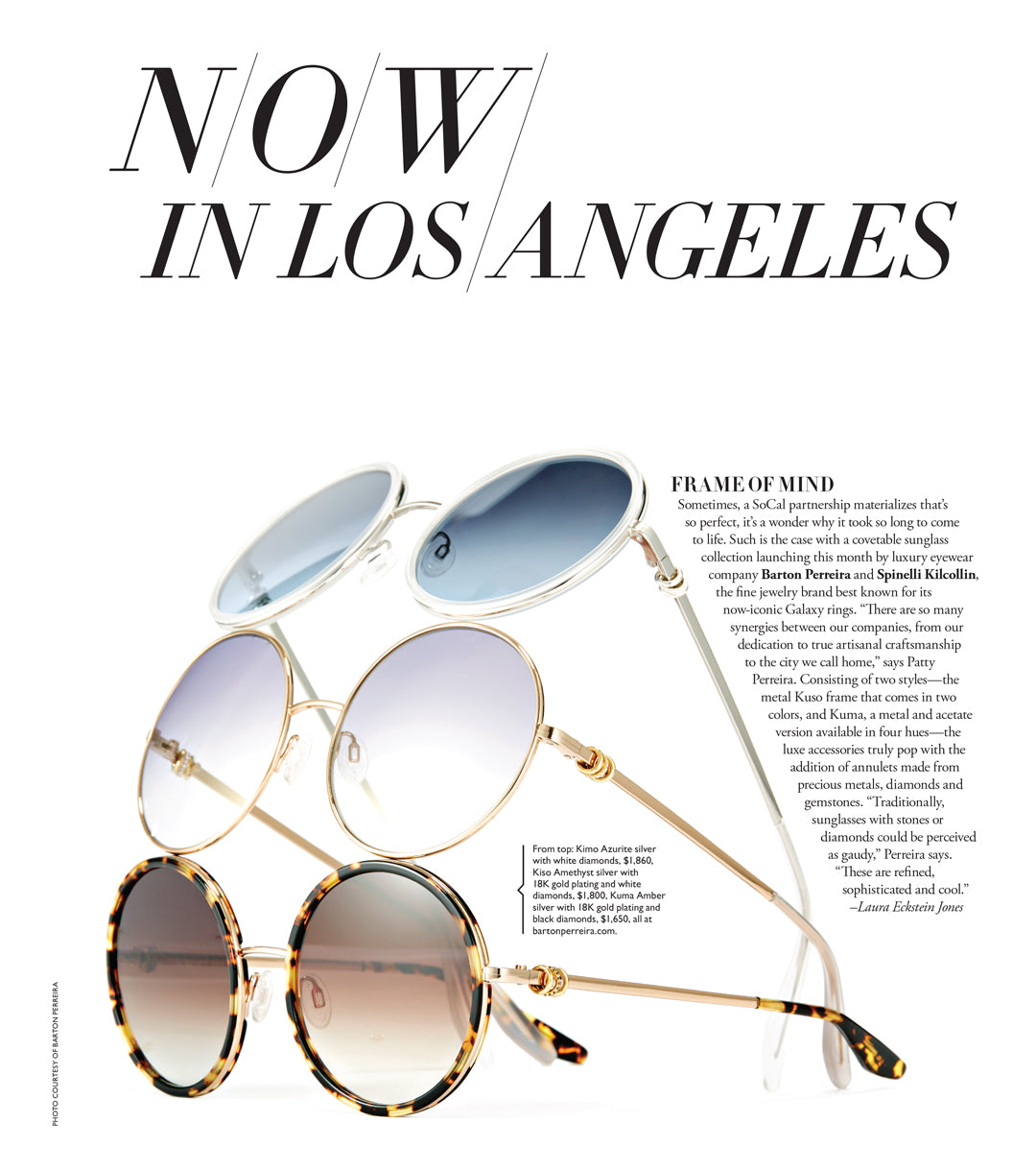 Spinelli Kilcollin X Barton Perreira collaboration sunglasses luxury los angeles