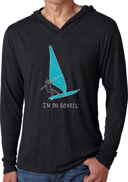 I'm on Board™ Wind Surfing- Men's Long Sleeve Hoodie