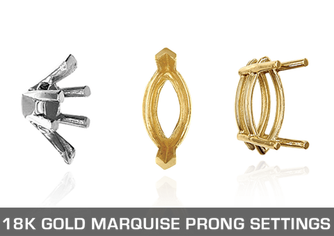 18K Gold Marquise Prong Settings