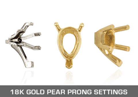 18K Gold Pear Prong Settings