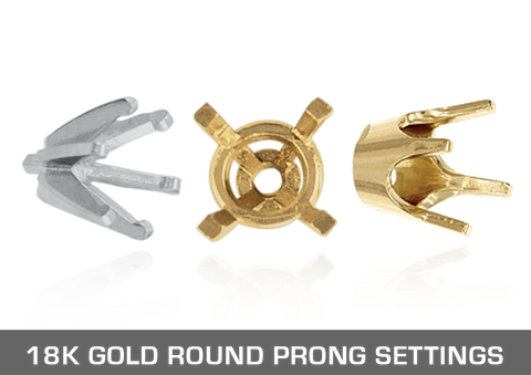 18K Gold Round Prong Settings
