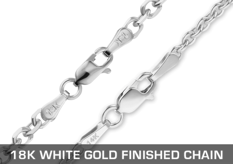 18K White Gold Finished Chain
