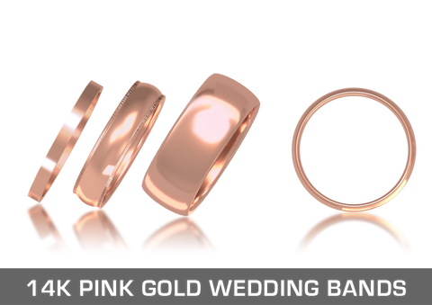 14K Pink Gold Wedding Bands