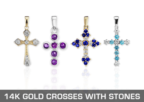 14K Gold Christian Crosses with Stones