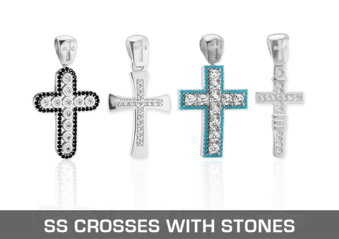 Sterling Silver Christian Crosses with Stones