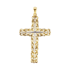 14K Two Tone Gold Two Tone Openwork Cross Pendant (61 x 33mm)