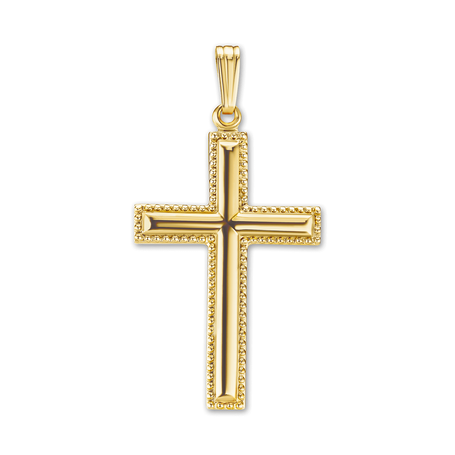 14K Gold Fancy Cross with Beaded Edge (41 x 21mm)