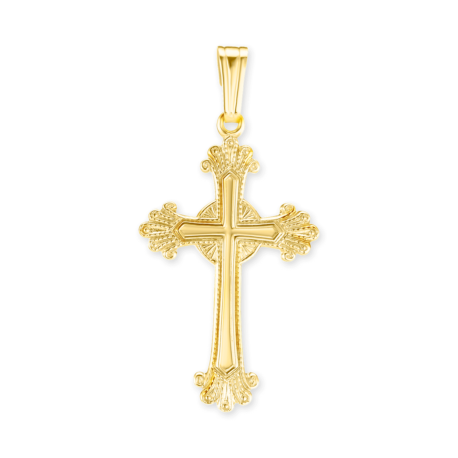 14K Gold Fancy Anglican Cross (34 x 16mm)