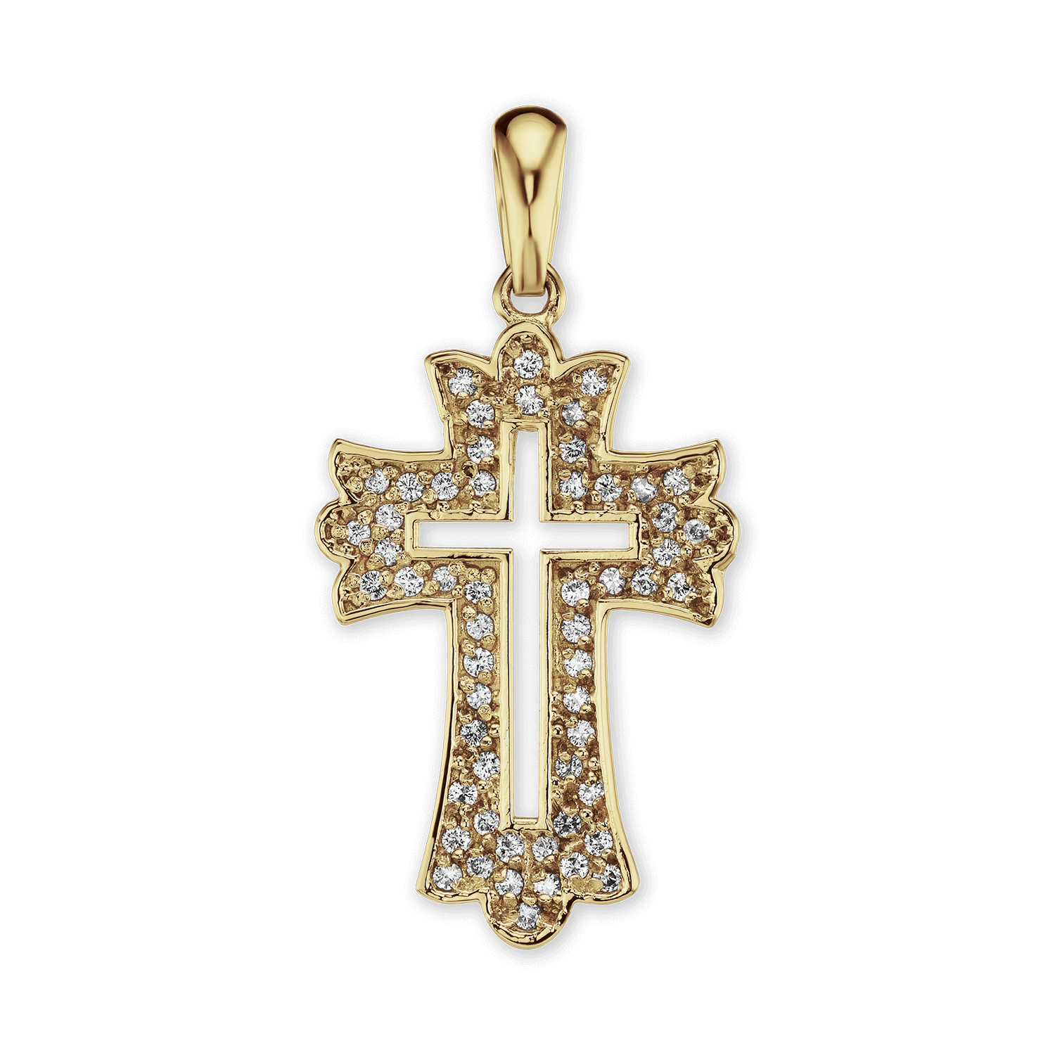 14K Gold Openwork Cross Pendant with Diamonds (35 x 16mm)