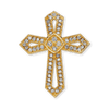 14K Gold Openwork Cross Pendant with Diamonds (30mm)