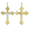 14K Two Tone Gold Trefoil Crucifix Pendant with Detailed Design (64 x 40mm)