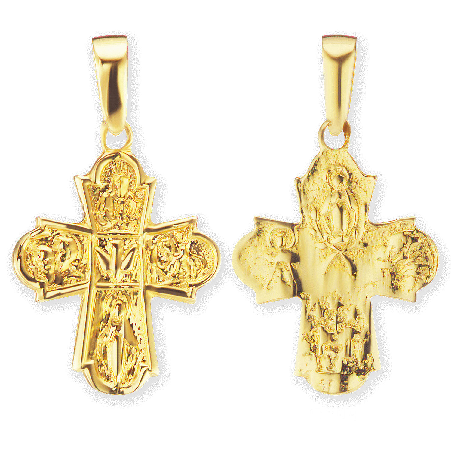 14K Gold 4-Way Byzantine Cross Pendant (21 x 12mm)