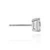 Sterling Silver Square Four Prong Earrings with Flat Side Wire and CZ