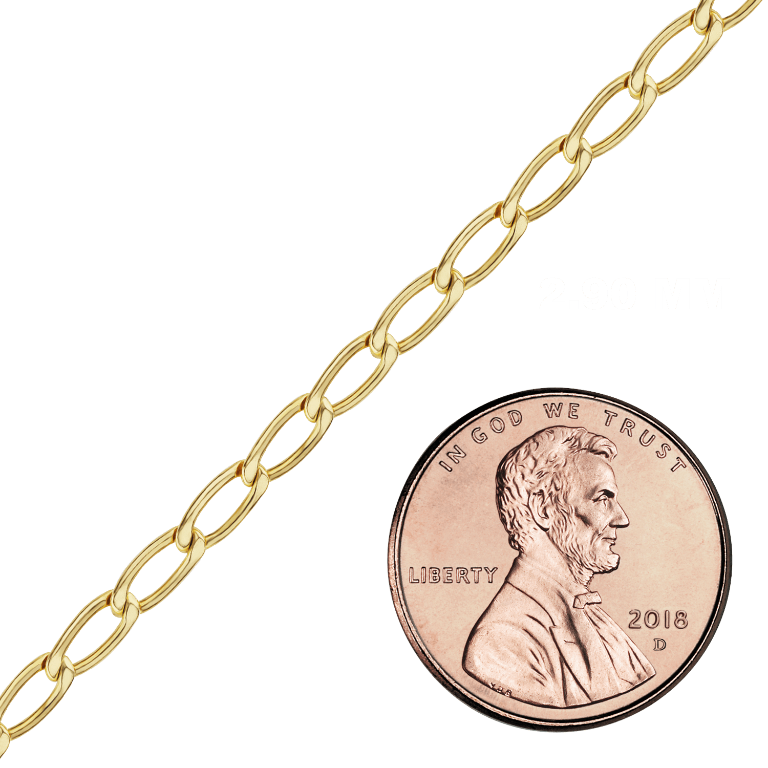 Spooled Elongated Curb Chain in Gold-Filled (2.9mm - 5.1mm)