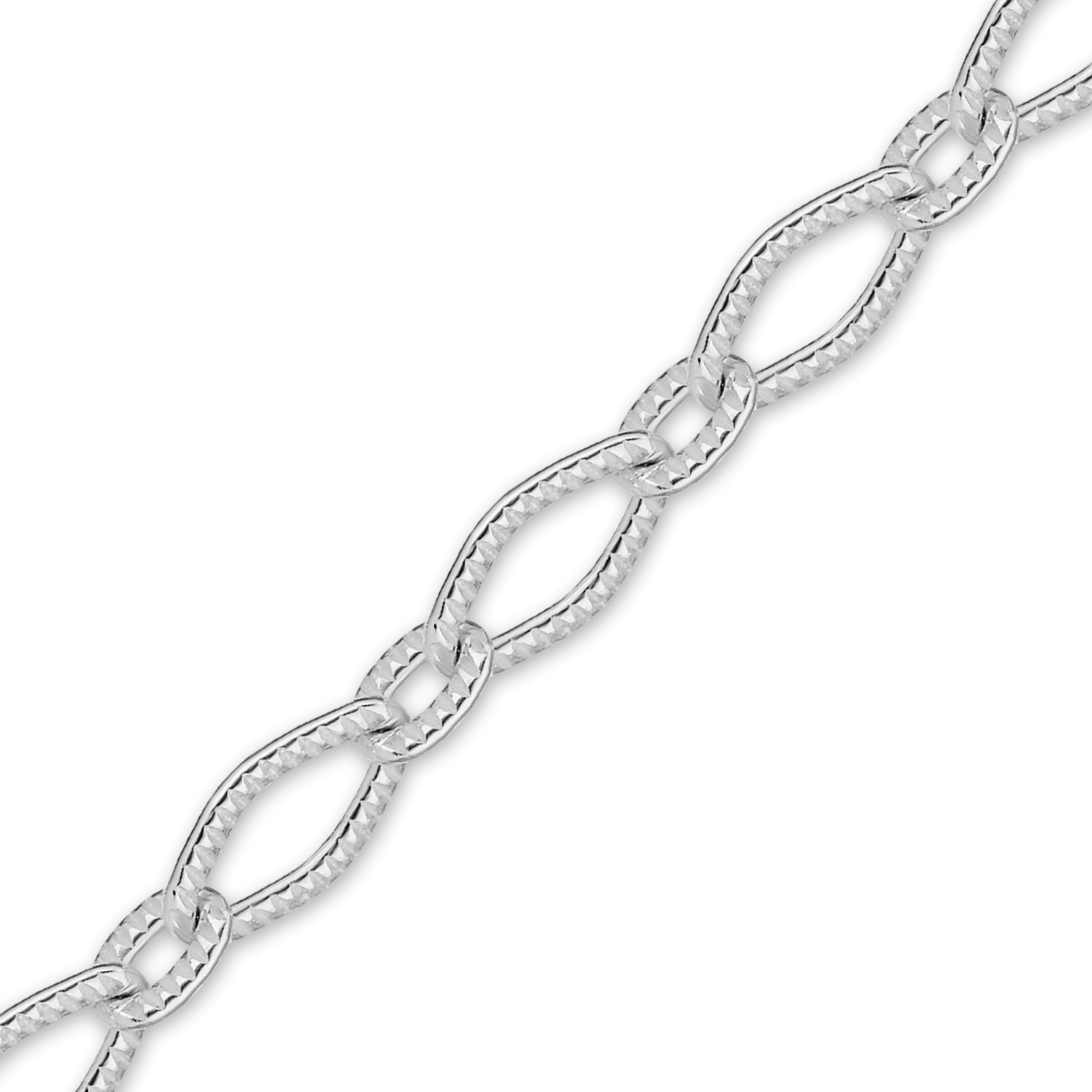 Finished Textured Fancy Cable Chain in Sterling Silver (3.70mm)