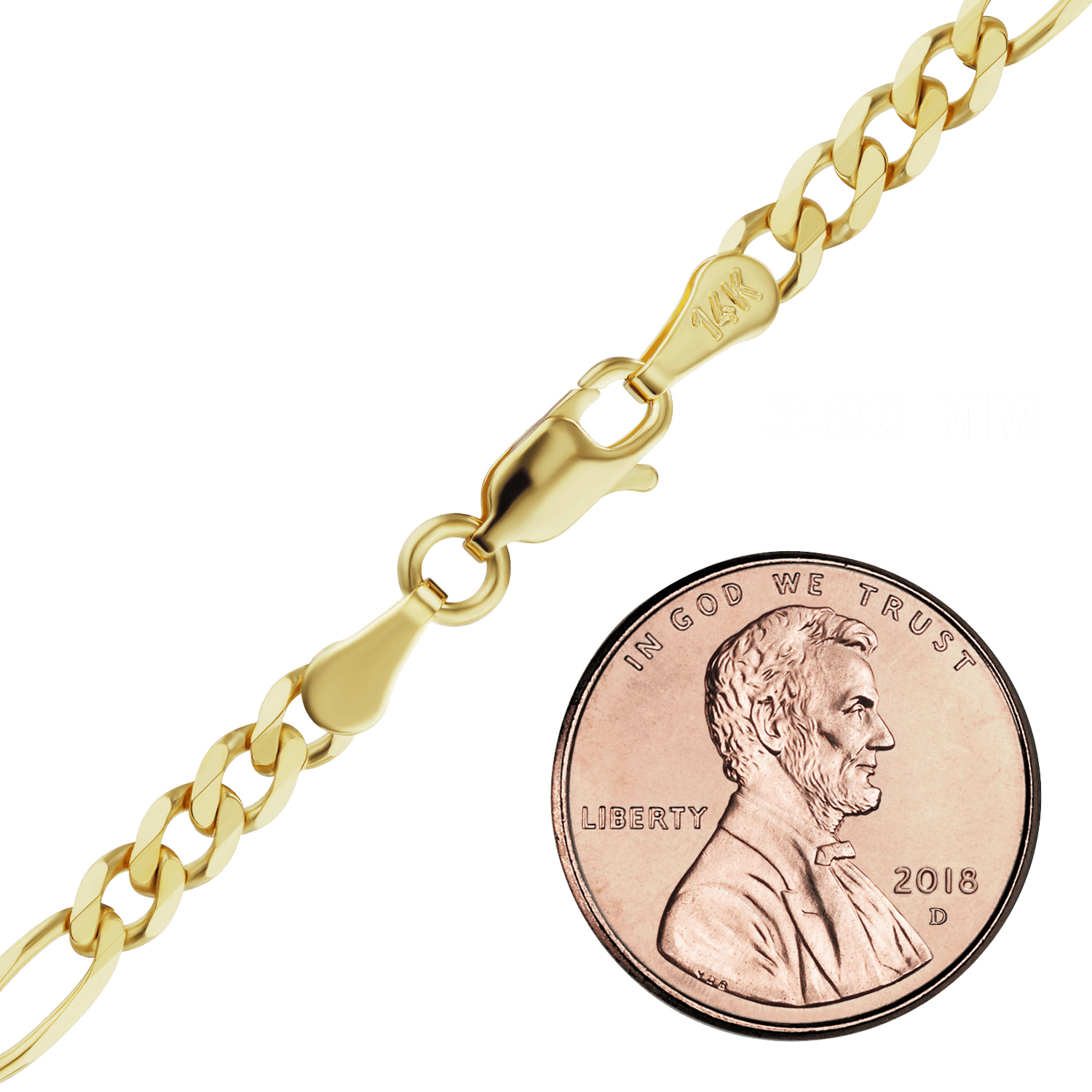 Finished Classic Figaro Chain in Yellow Gold (1.50 mm - 11.50 mm)