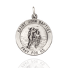 Sterling Silver Round Saint John the Baptist Medallion (5/8 inch - 7/8 inch)