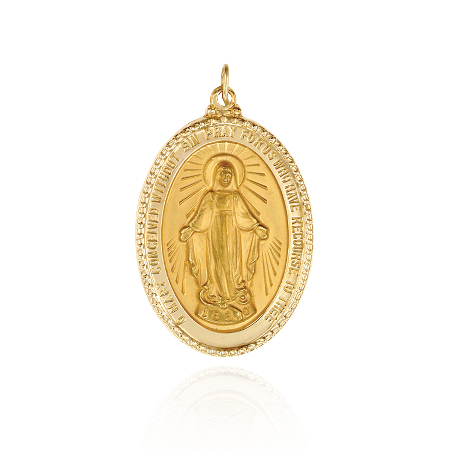 14K Gold Oval Miraculous Framed Medallion (1 5/8 x 1 inch)