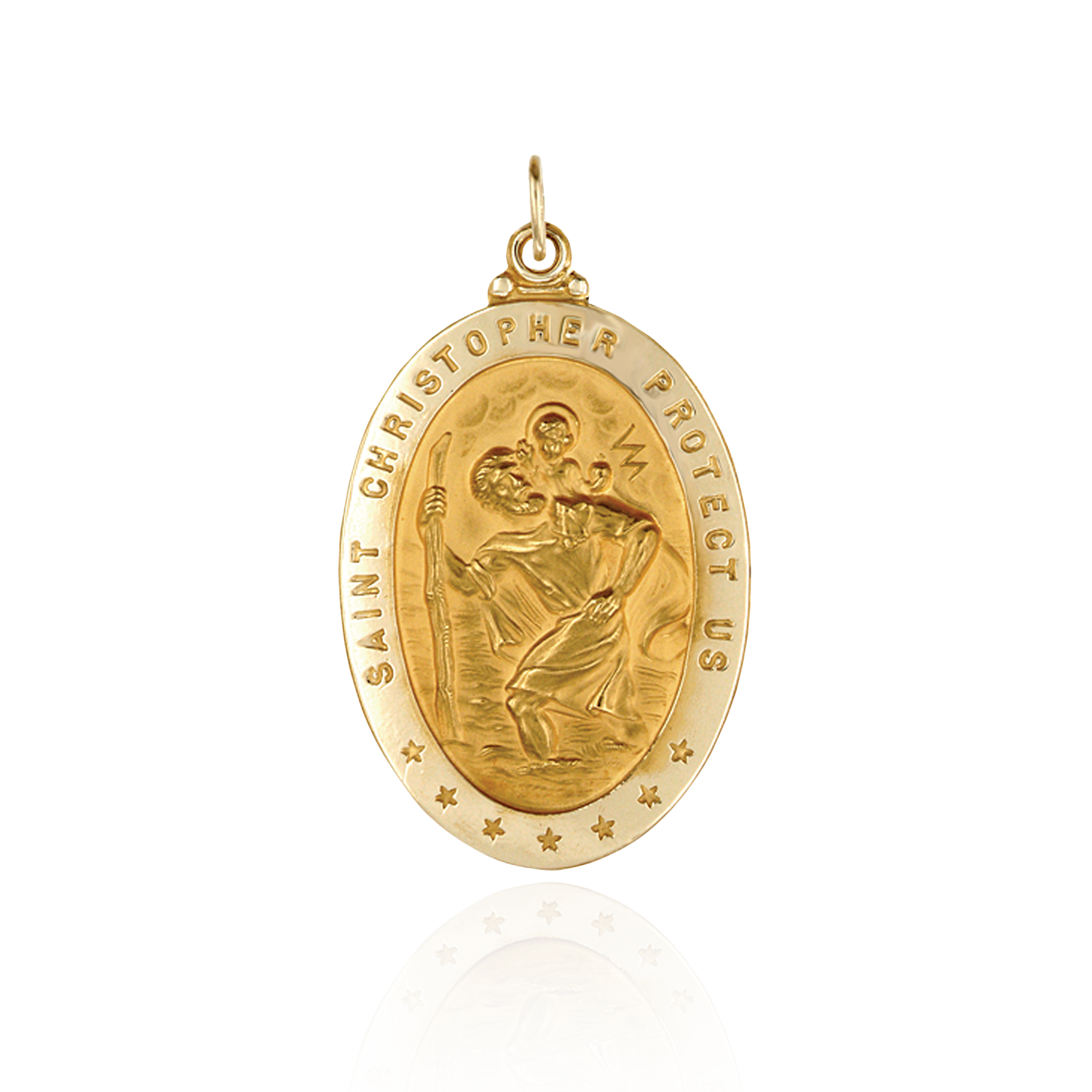 14K Gold Oval Saint Christopher Medallion