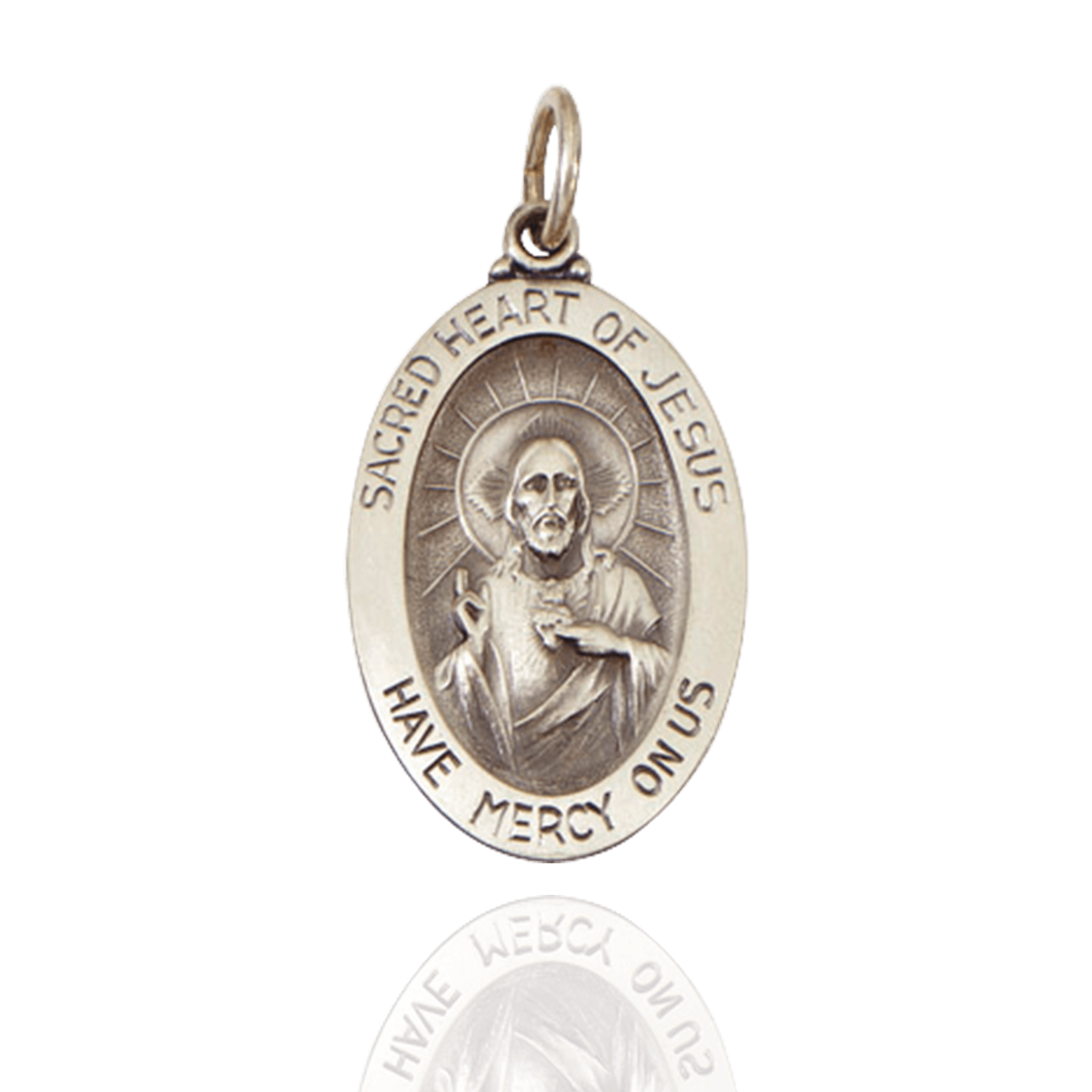 Sterling Silver Oval Sacred Heart of Jesus Medallion (7/8 x 9/16 inch - 1 x 5/8 inch)