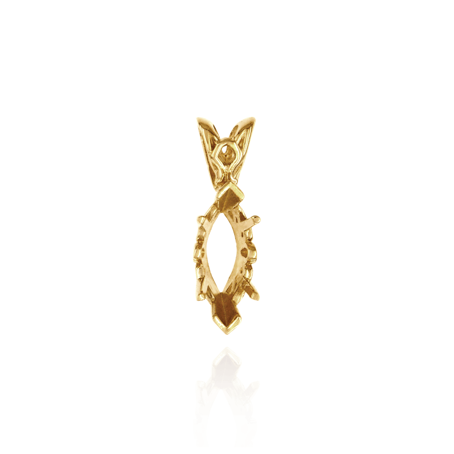 14K Gold Marquise Shape V-end and Four Prong Filigree Pendants in 14K Gold (Casting) in 14K Gold (3mm - 20mm)