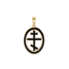 Sterling Silver Greek Orthadox Cross Pendant 1 x 1//2 inches with Sterling Silver Lite Curb Chain