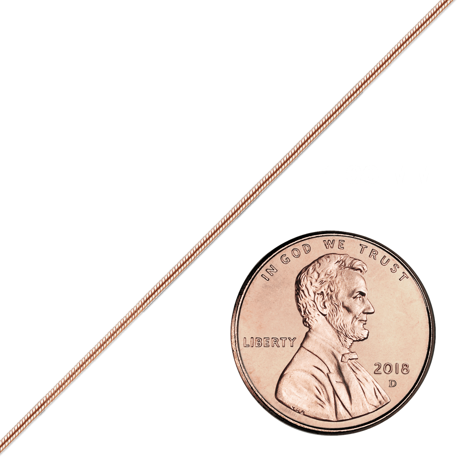 Bulk / Spooled Round Snake Chain in 14K Pink Gold (1.00 mm)