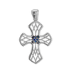 Sterling Silver Fancy Cross with Stones and Ember Detail (35mm)