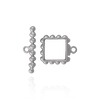 Square Toggle Pearl Clasps with Edge Detail