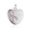 Enameled Sterling Silver Heart Breast Cancer Awareness Medallion