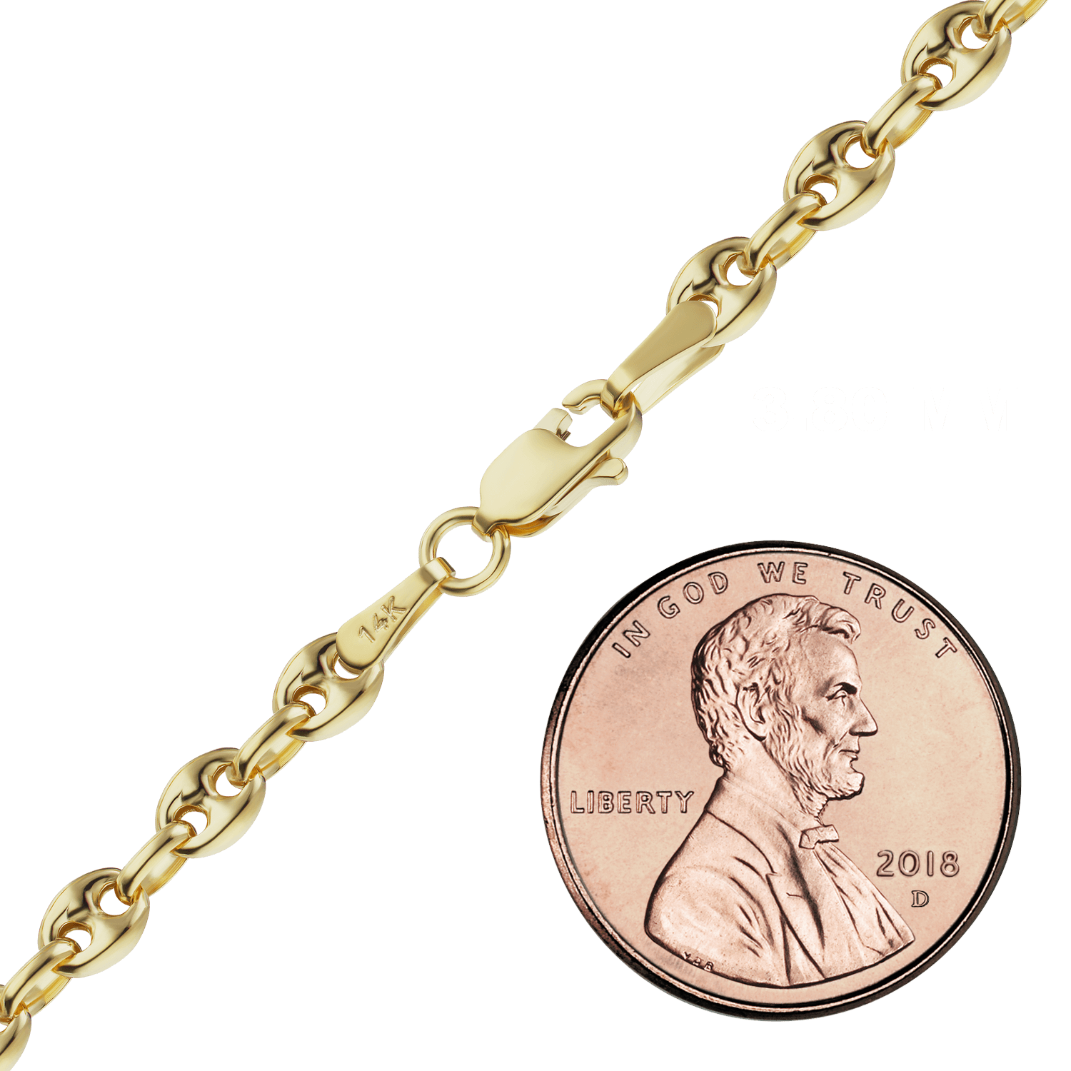 Finished Classic Gucci Chain in Yellow Gold (3.80 mm - 8.30 mm)