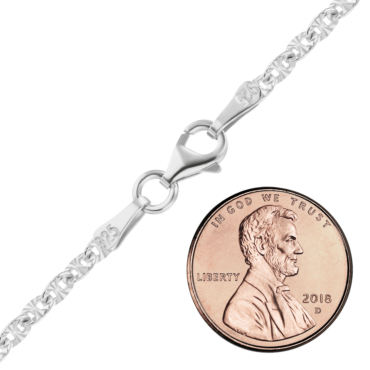 Finished Mariner Cable Chain in Sterling Silver (2.60 mm - 6.10 mm)