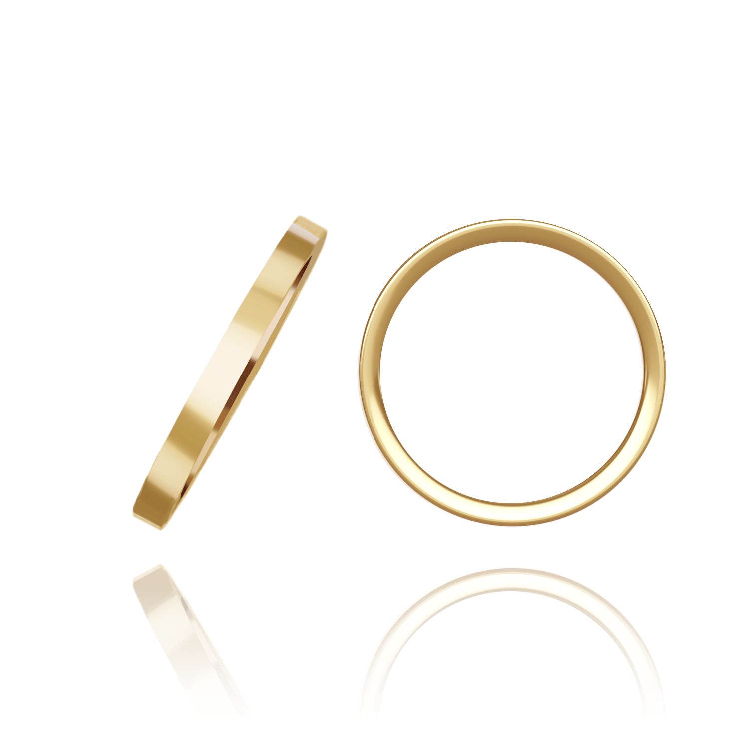 14K Yellow Gold Flat Wedding Bands (2.0 mm - 10.0 mm)