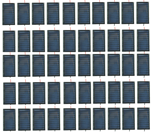 Mini Solar Cells: 5V 30mA 53X30mm For Solar Panels, DIY Projects, Toys, 3.6v Battery Charger - with and without pre-soldered wires