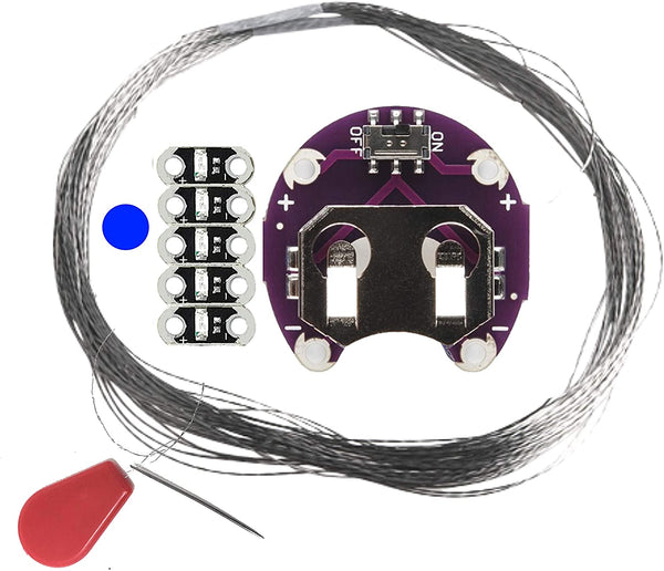 Sewable Jewel LED Kits - Thin 0.8mm LEDs with Resistor, Conductive Thread, Needle & Threader
