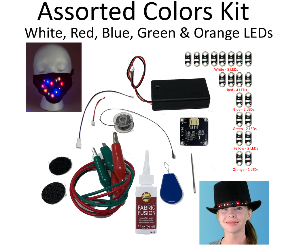 Jewel Series DIY Light Up Mask & Clothing Kit with 20 Assorted Color LEDs